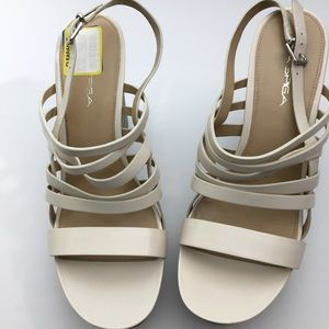 Via Spiga V-Esther cream leather slingback sandals